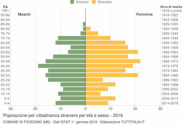 Grafico cittadini stranieri - Fivizzano 2019