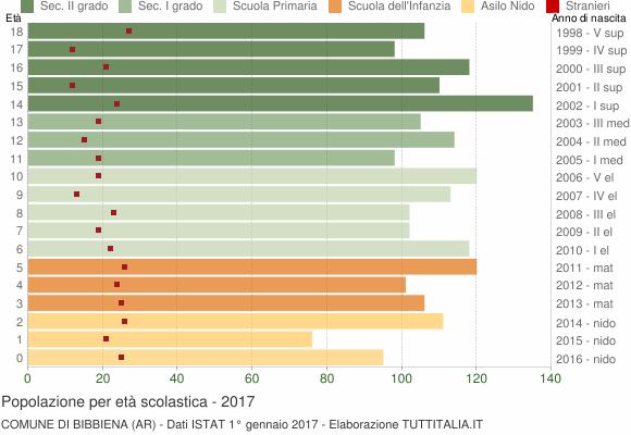 Grafico Popolazione in età scolastica - Bibbiena 2017
