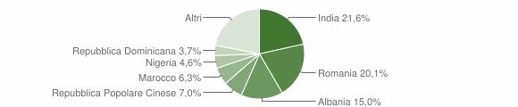 Grafico cittadinanza stranieri - Montevarchi 2019