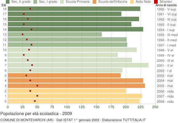 Grafico Popolazione in età scolastica - Montevarchi 2009