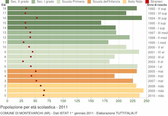 Grafico Popolazione in età scolastica - Montevarchi 2011