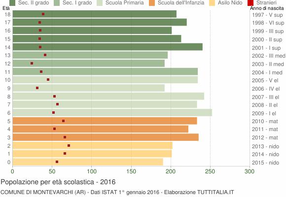 Grafico Popolazione in età scolastica - Montevarchi 2016