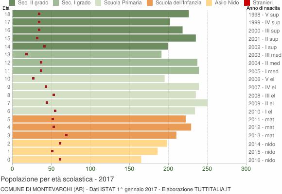 Grafico Popolazione in età scolastica - Montevarchi 2017