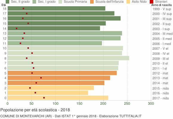 Grafico Popolazione in età scolastica - Montevarchi 2018