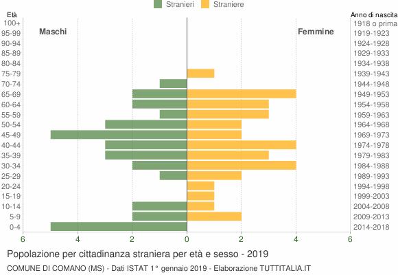 Grafico cittadini stranieri - Comano 2019