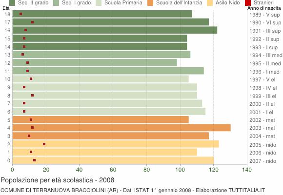 Grafico Popolazione in età scolastica - Terranuova Bracciolini 2008