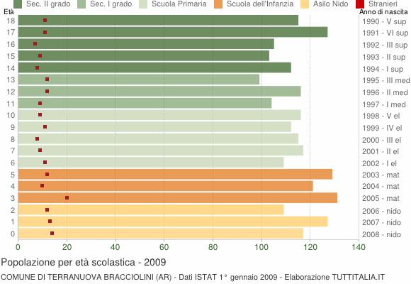 Grafico Popolazione in età scolastica - Terranuova Bracciolini 2009