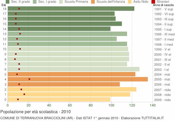 Grafico Popolazione in età scolastica - Terranuova Bracciolini 2010