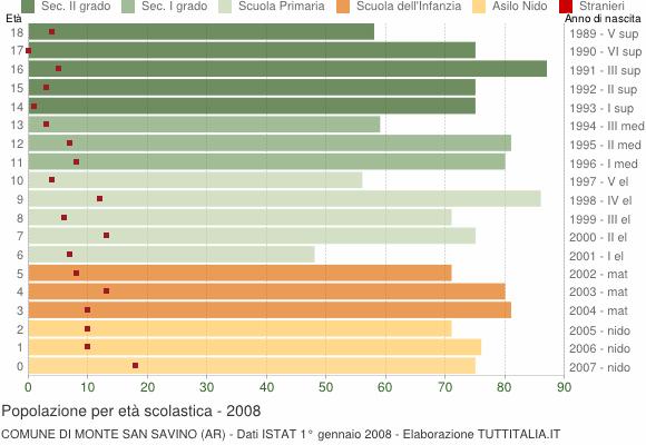 Grafico Popolazione in età scolastica - Monte San Savino 2008