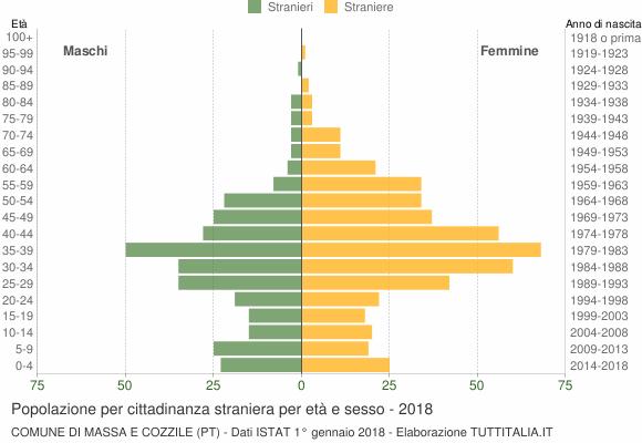 Grafico cittadini stranieri - Massa e Cozzile 2018