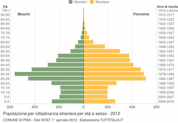 Grafico cittadini stranieri - Pisa 2012