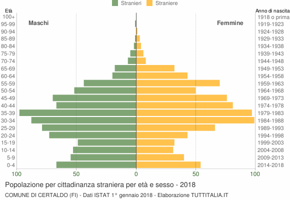 Grafico cittadini stranieri - Certaldo 2018