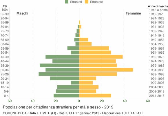 Grafico cittadini stranieri - Capraia e Limite 2019