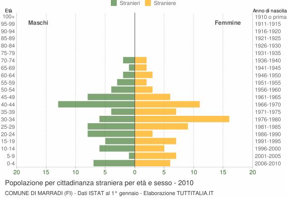 Grafico cittadini stranieri - Marradi 2010
