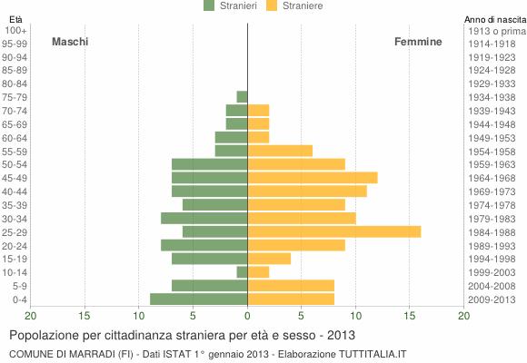 Grafico cittadini stranieri - Marradi 2013