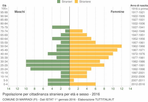 Grafico cittadini stranieri - Marradi 2016