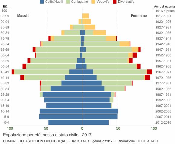 Grafico Popolazione per età, sesso e stato civile Comune di Castiglion Fibocchi (AR)
