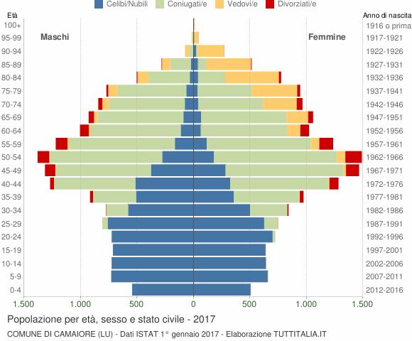 Grafico Popolazione per età, sesso e stato civile Comune di Camaiore (LU)