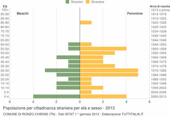 Grafico cittadini stranieri - Ronzo-Chienis 2013