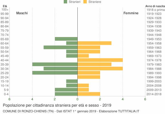 Grafico cittadini stranieri - Ronzo-Chienis 2019