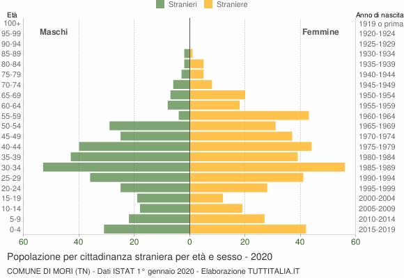 Grafico cittadini stranieri - Mori 2020