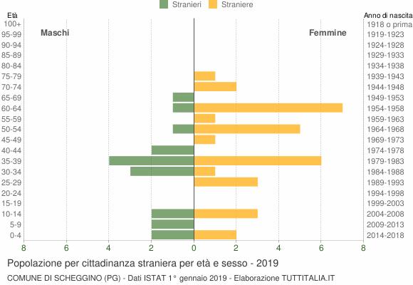 Grafico cittadini stranieri - Scheggino 2019