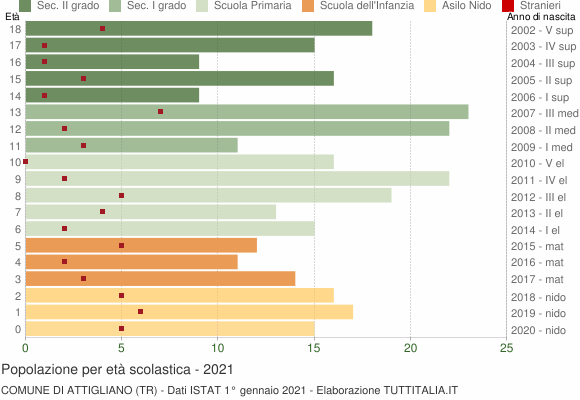 Grafico Popolazione in età scolastica - Attigliano 2021