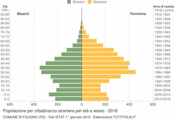 Grafico cittadini stranieri - Foligno 2018