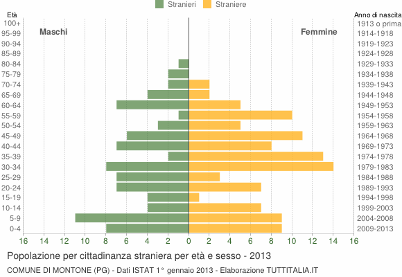 Grafico cittadini stranieri - Montone 2013