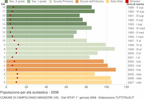 Grafico Popolazione in età scolastica - Campolongo Maggiore 2008