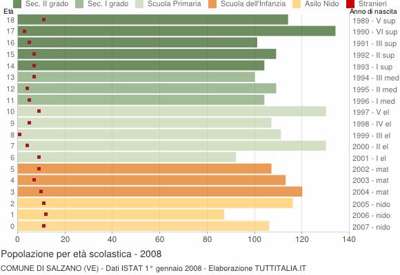 Grafico Popolazione in età scolastica - Salzano 2008