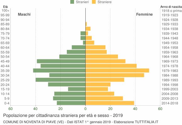 Grafico cittadini stranieri - Noventa di Piave 2019