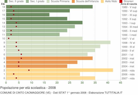 Grafico Popolazione in età scolastica - Cinto Caomaggiore 2008
