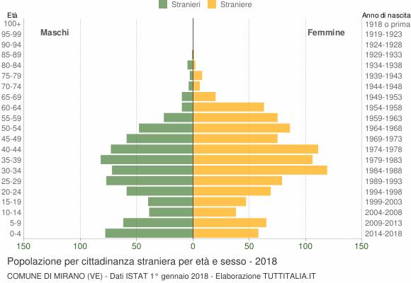 Grafico cittadini stranieri - Mirano 2018