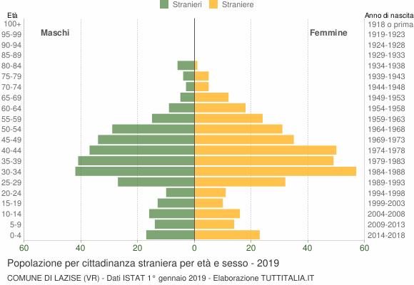 Grafico cittadini stranieri - Lazise 2019