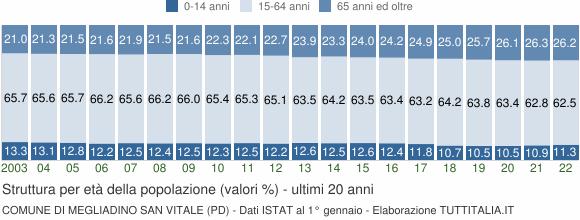 Grafico struttura della popolazione Comune di Megliadino San Vitale (PD)