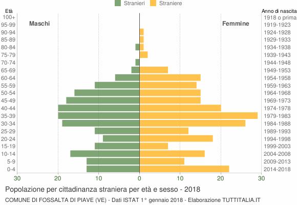 Grafico cittadini stranieri - Fossalta di Piave 2018