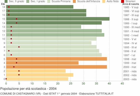 Grafico Popolazione in età scolastica - Castagnaro 2004