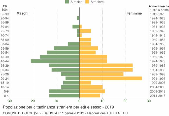 Grafico cittadini stranieri - Dolcè 2019