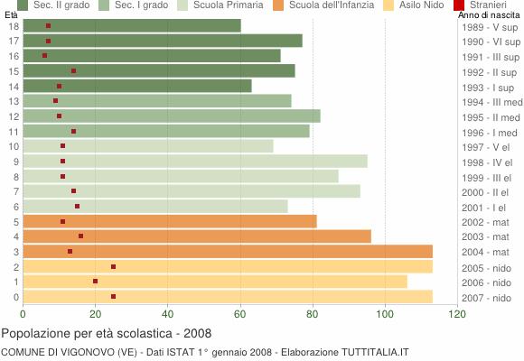 Grafico Popolazione in età scolastica - Vigonovo 2008