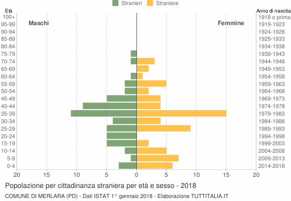 Grafico cittadini stranieri - Merlara 2018