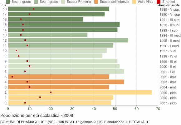Grafico Popolazione in età scolastica - Pramaggiore 2008