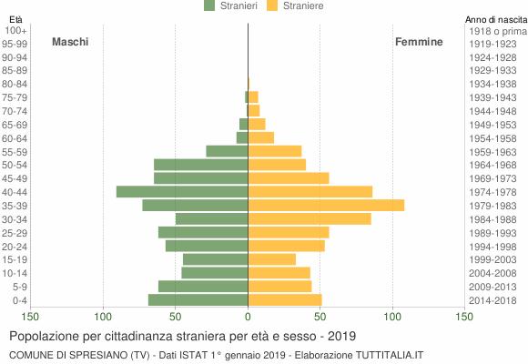 Grafico cittadini stranieri - Spresiano 2019