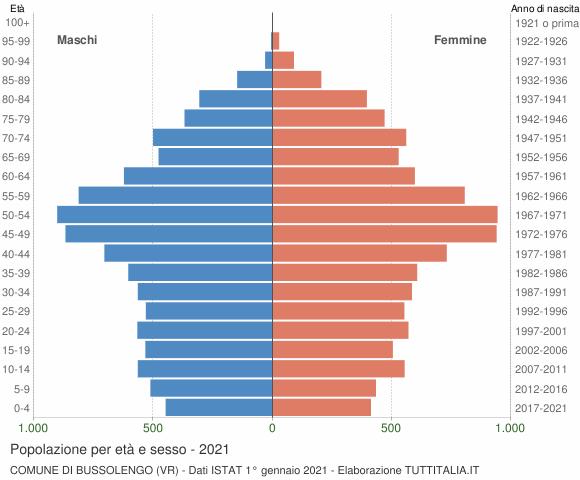 Grafico Popolazione per età e sesso Comune di Bussolengo (VR)