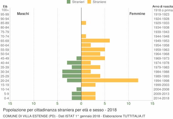 Grafico cittadini stranieri - Villa Estense 2018