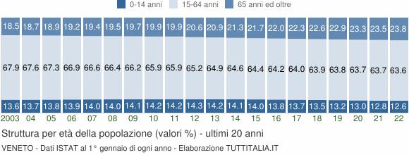 Grafico struttura della popolazione Veneto